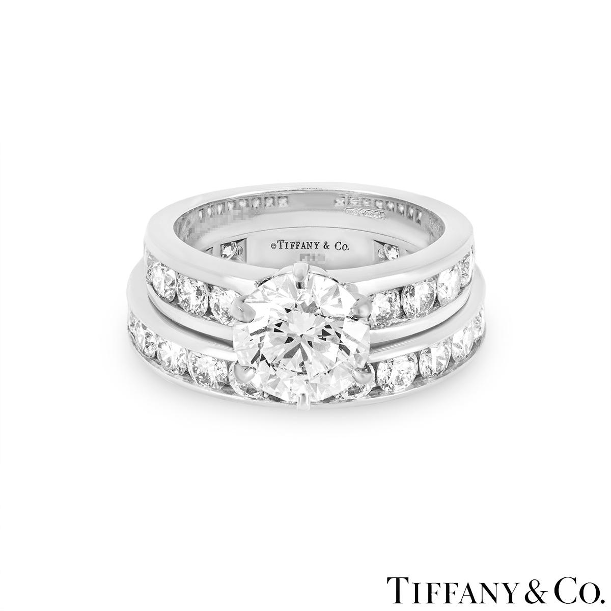Tiffany & Co. Platinum Diamond Ring 2.04ct F/VS1 XXX with Diamond Full Eternity Ring